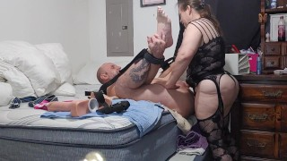Mistress tied  down and his ass