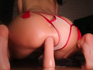 CLOSE-UP DEEP ANAL DILDO RIDE MAKES HER PUSSY SQUIRT | LaraJuicy