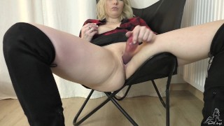 Masturbation and squirt in boots