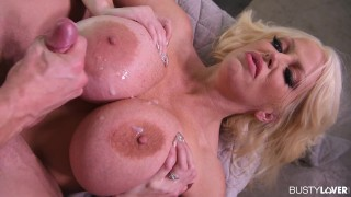 Busty Lovers lick frosting off of Alura TNT Jenson's huge 36I/80K titties