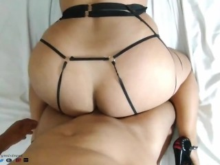 Hot Latina in Beautiful Harness Lingerie Likes in the Ass