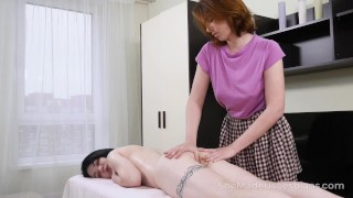 She Made Us Lesbians – Full body massage turns into a fuck fest