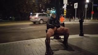 Milf uses big dildo on busy street corner