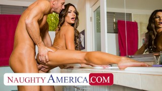 Naughty America – Aila Donovan fucks in the bathroom