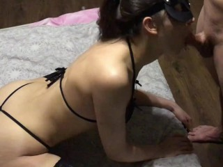 young secretary went to work, was spotted in sexy lingerie and fucked in the mouth