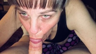 Friends mom sucking my cock and making happy noises when I cum in her mouth. Showing cum and swallow
