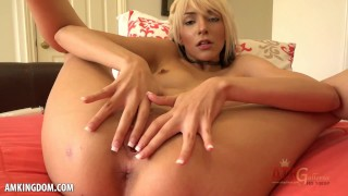 Hot blonde Hime Marie fingers herself then uses hitachi