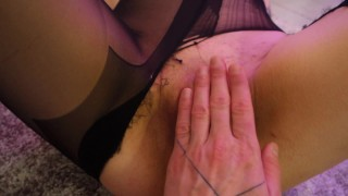 So horny! Fucked her through ripped pantyhose, foot job, squirting, cumshot - Quarantine dance