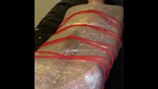 Amateur Femdom Slave – Plastic Wrap And Rope Bondage – Cock Teasing