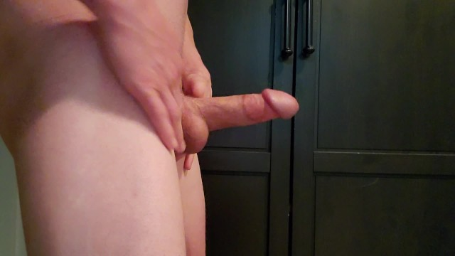 cock is thick and full. handjob teasing with precum and massive cum shot