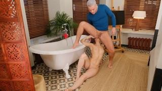 RIM4K Guy joins sweet GF in bathroom in time for sex full of rimming