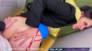 Real Risky Sex in Man's Toilet – Public Agent PickUp Student in Walmart to Quick Fuck / Kiss Cat