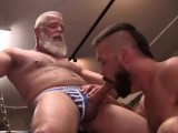Hot Bottom Cums Twice and Gets Bred by Much Older SilverFox in the Bathhouse