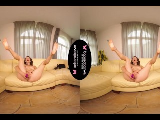 Solo redhead, Victoria Daniels drills her pussy, in VR