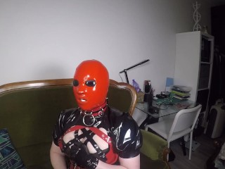 Trailer Heavy Rubber Mask, Solo Pleasure By Miss Maskerade In Latex Corset Gagged Playing With Dildo