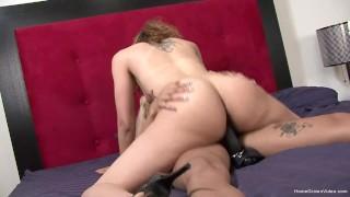 Ebony amateur fucks her sexy girlfriend with a strapon