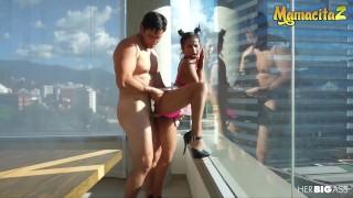 HerBigAss - Indira Uma Ebony Latina Colombiana Rides A Big White Cock