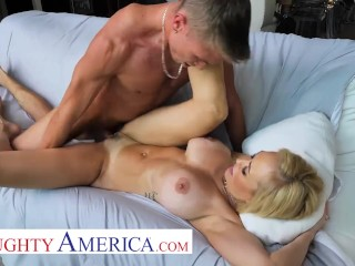 Naughty America – The beautiful MILF, Brandi Love, enjoys the sun, her pool, and young cock!