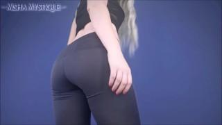 免费色情电影 - Misha Mystique 屁股恋物癖蹲瘦裤子和鲸鱼尾-瑜伽裤纯粹服装屁股