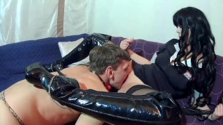 Mistress and slave. part-3. Male slave licks anal to his mistress