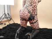 Spandex Tight Catsuit With Leopard Print, Hot Milf in Over Knee Boots Posing on Photoshoot