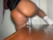 Big ass ebony riding dildo on nightstand