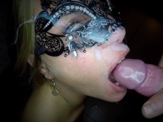 Masked blonde girl gets fucked in her ass and pussy end receives an eye facial
