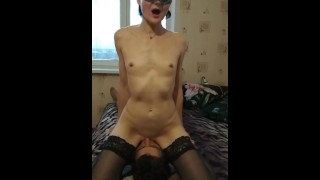 The mistress put on a chain and made her lick her wet hot pussy PussyLicking