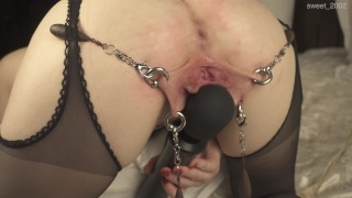 Weights on pierced labia. Spanking wide open ass. 4K
