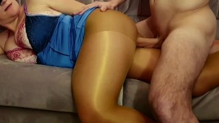 Hot night Sex in shiny pantyhose