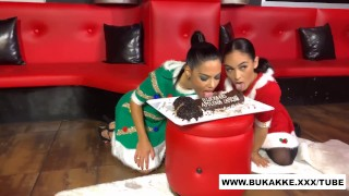 Christmas bukkake for HOT brunette