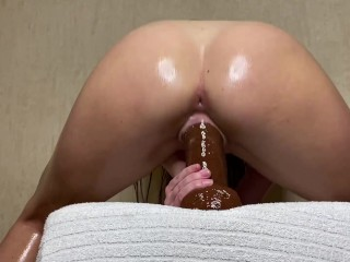 white girl riding 10 inch huge black dildo and cum
