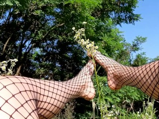 Fishnet lesbian feet/fishnet foot worship outdoor sexy