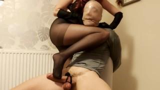 Sexy pantyhose mistress chokes and fucks Nylon throttle and hand smothering femdom!!