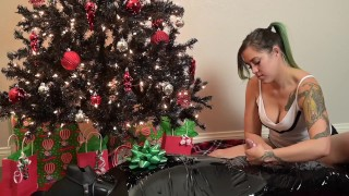 Christmas Present: Femdom Mistress teases cock with milking edging handjob torture