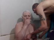 Bald girl razor shave dildo play