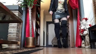 Leather miniskirt, thigh high boots...and foot worship!