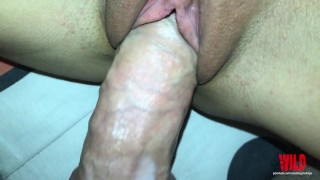 Close-up fucking hard a creamy tight pussy until her pulsating orgasm