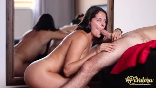 Sloppy deepthroat and throatpie finishing with intense throbbing oral creampie