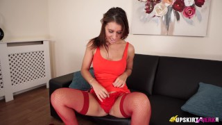 Hot brunette lets you look up her skirt and wank over her pussy!