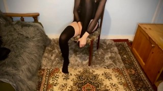 Thigh high socks and boots with lingerie; teasing and ASMR