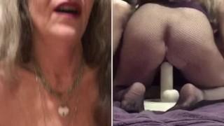 Sexy PAWG MILF GILF Eye Contact And Split Screen POV Soles Up Fucks Huge Dildo Bulge