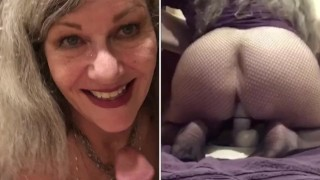 Sexy PAWG MILF GILF Blue Eye Contact And Split Screen POV Soles Up Fucks Huge Dildo Bulge