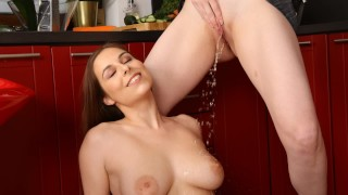 Busty Babe Gets Titties Soaked In Pee
