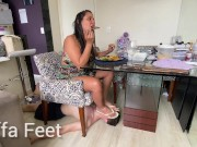 PREV Kiffa makes Waiter slave serves her dinner and offer his face as footstool under table FOOT