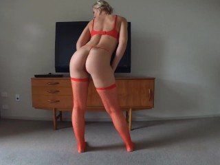 Red Lingerie Blonde Wants Cum On Her Face