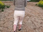 ⭐ White Jeans Peeing compilation. How stained can I make them? ;)