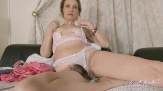 AuntJudys 52yo Mrs Gerda's BIG HAIRY BUSH Masturbation