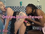 Interracial Lesbian Couple Tries Huge New Strap-on in Tiny Brunette