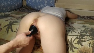 Cunt that gave birth spits out a 12 inches ball (extreme pussy stretching)